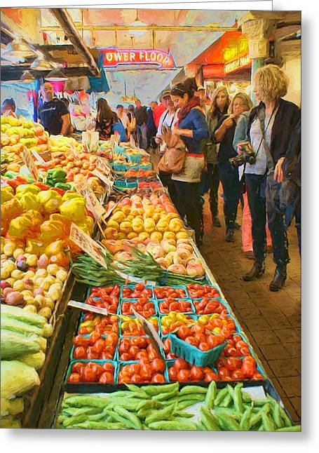 Fruits And Vegetables - Pike Place Market Greeting Card by Nikolyn McDonald