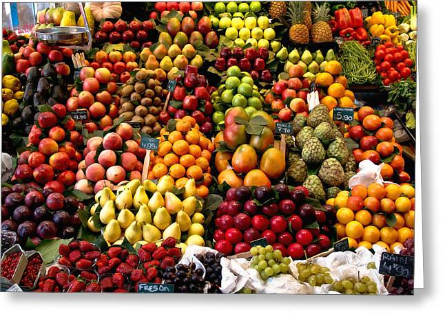 Fruitstand Greeting Card by Jim DeLillo