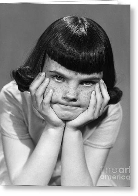 Frustrated Girl, C.1950s Greeting Card by Debrocke/ClassicStock
