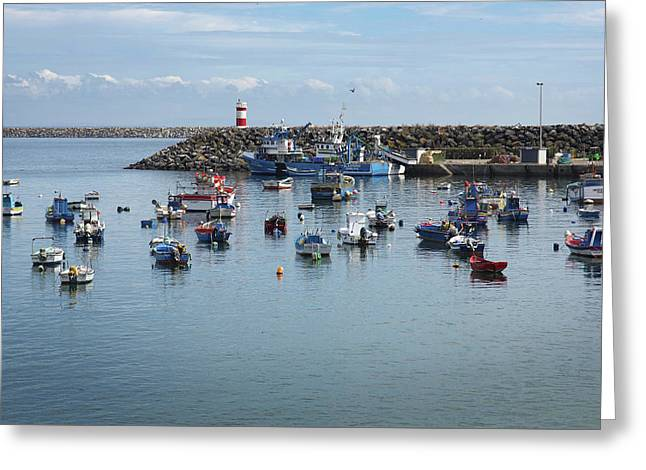 Fishing Boats In Sines Harbot, Portugal Greeting Card by Carlos Caetano