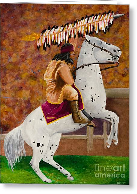 Fsu Chief Osceola And Renegade Greeting Card by Deb Breton