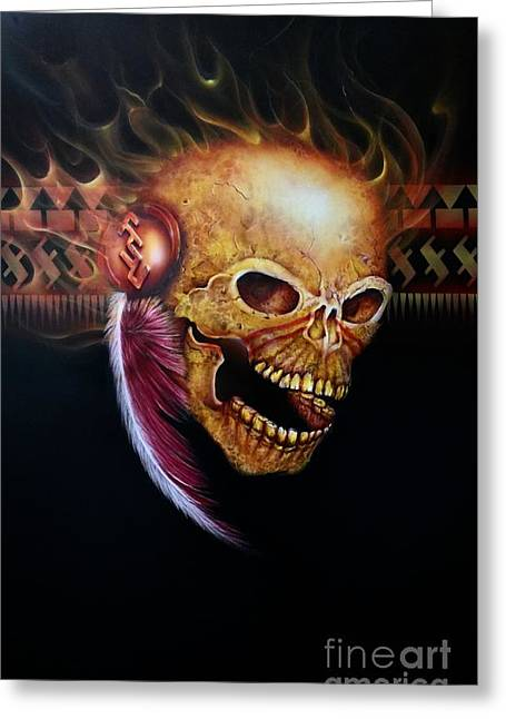 Fsu Flamming Skull Greeting Card