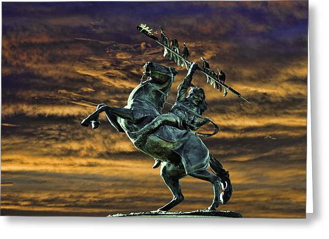 Fsu's Unconquered Renegade And Osceola Greeting Card by Frank Feliciano
