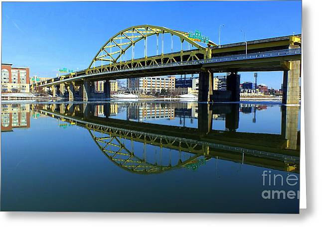 Ft. Duquesne Bridge, Pittsburgh, Pa Greeting Card by Len-Stanley Yesh