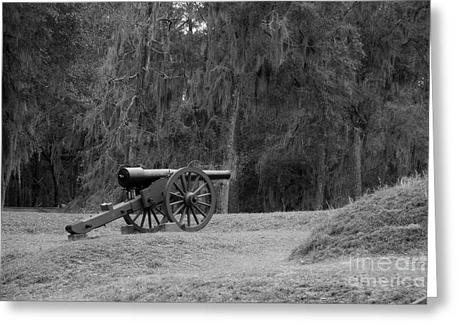 Ft. Mcallister Cannon 2 Black And White Greeting Card