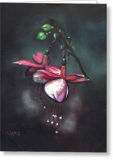 Fuchsia And Dew  Greeting Card