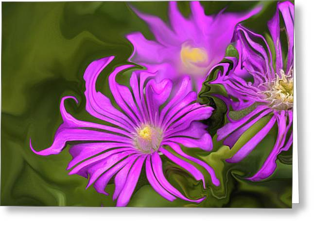Greeting Card featuring the digital art Fuchsia Flower - Digital Painting by Cristina Stefan