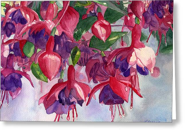 Close Up Floral Paintings Greeting Cards - Fuchsia Frenzy Greeting Card by Lynne Reichhart