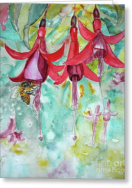 Greeting Card featuring the painting  Fuchsia by Jasna Dragun