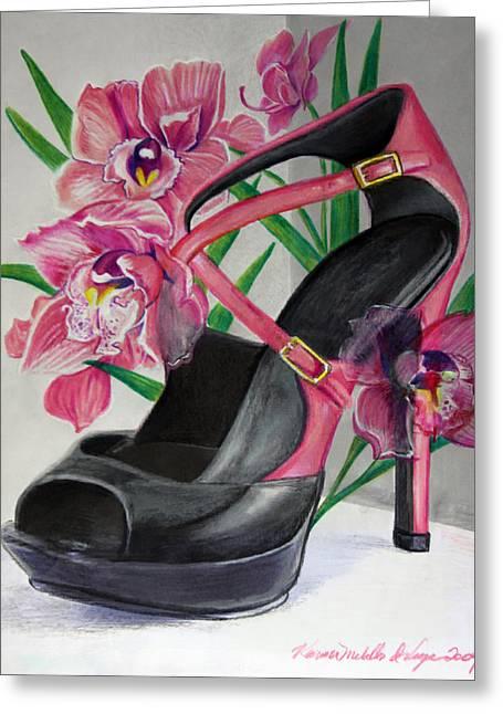 Fuchsia Orchid Colour Block Greeting Card by Karon Melillo DeVega