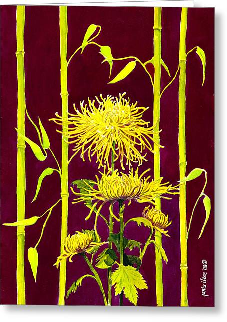 Spider Flower Greeting Cards - Fuji Mums and Bamboo Greeting Card by Janis Grau