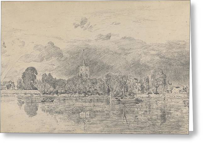 Fulham Church From Across The River Greeting Card