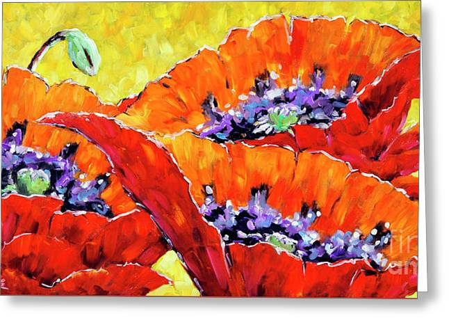 Full Bloom Poppies By Prankearts Fine Art Greeting Card by Richard T Pranke
