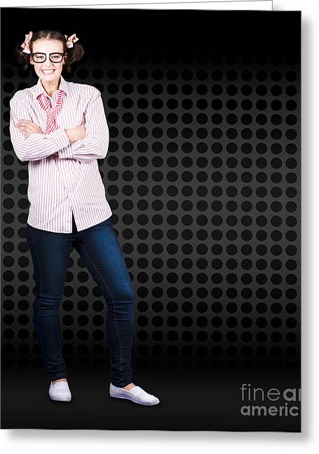 Full Body Female Business Nerd With Funny Smile Greeting Card by Jorgo Photography - Wall Art Gallery