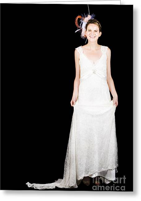 Full Body Portrait Of A Bride With Smile On Black Greeting Card