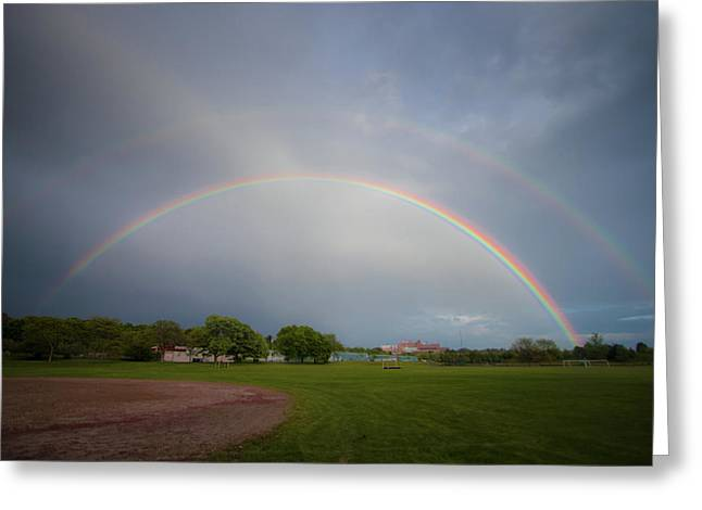 Greeting Card featuring the photograph Full Double Rainbow by Darryl Hendricks