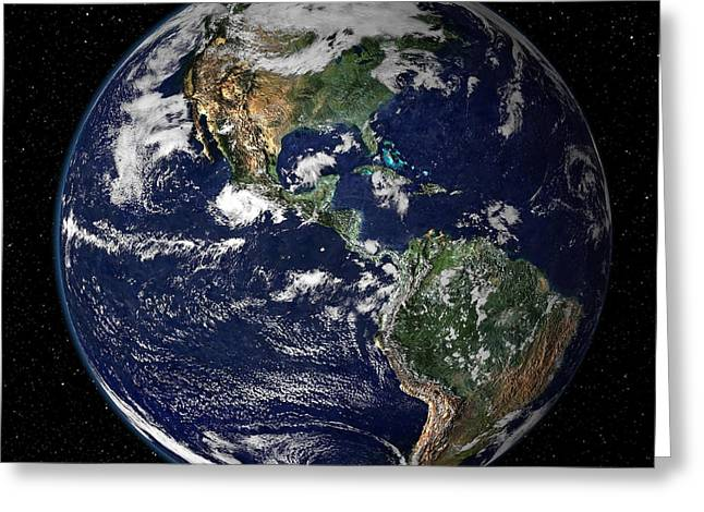 Planet Map Greeting Cards - Full Earth Showing North And South Greeting Card by Stocktrek Images