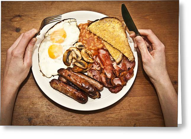 Toast Greeting Cards - Full English Breakfast Greeting Card by Sally Anscombe