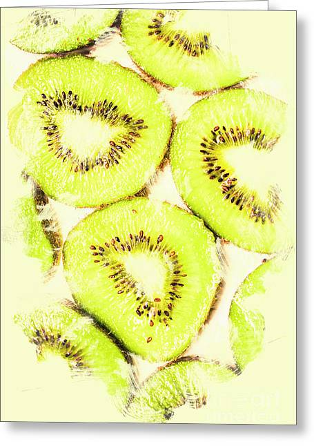 Full Frame Shot Of Fresh Kiwi Slices With Seeds Greeting Card