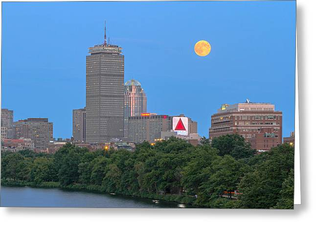 Greeting Card featuring the photograph Full Moon Across Boston Skyline by Juergen Roth