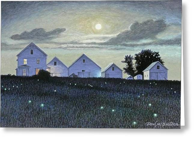 Full Moon And Fireflies Greeting Card by Paul Breeden