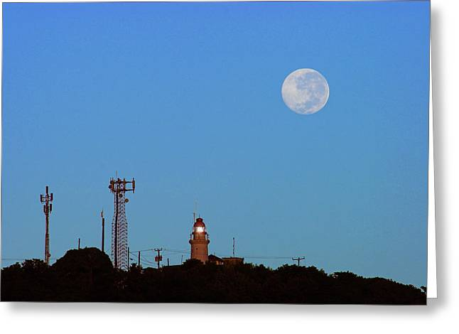 Full Moon And Lighthouse- St Lucia Greeting Card by Chester Williams