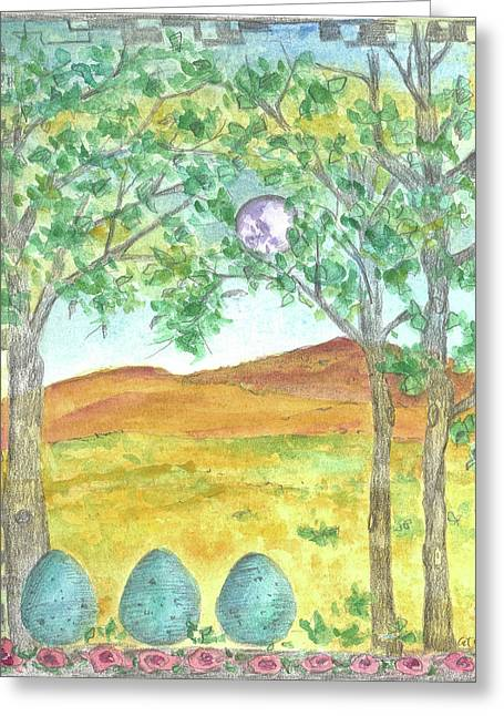 Greeting Card featuring the drawing Full Moon And Robin Eggs by Cathie Richardson