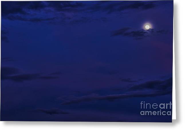 Full Moon And Sunset Afterglow Greeting Card by Thomas R Fletcher