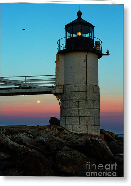 Full Moon At Marshall Point Lighthouse Greeting Card by Diane Diederich