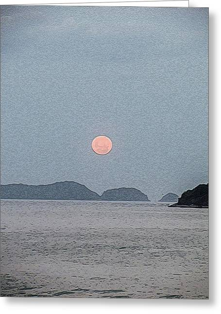 Full Moon At The Beach Greeting Card