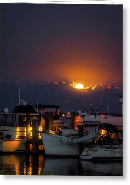 Full Moon At Titusville Greeting Card