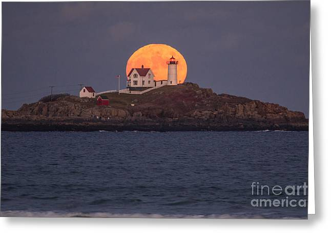 Full Moon Behind Nubble Greeting Card by Benjamin Williamson