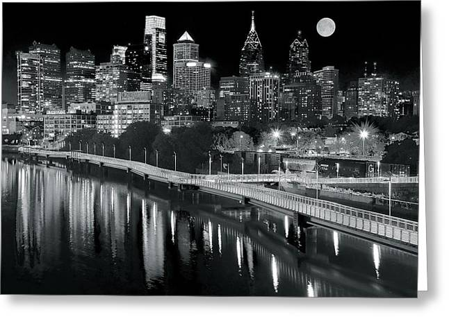 Full Moon Black And White In Philly Greeting Card