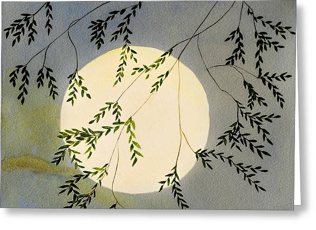 Moon And Tree Branch Painting Greeting Card