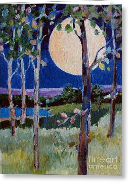 Greeting Card featuring the painting Full Moon by Diane Ursin