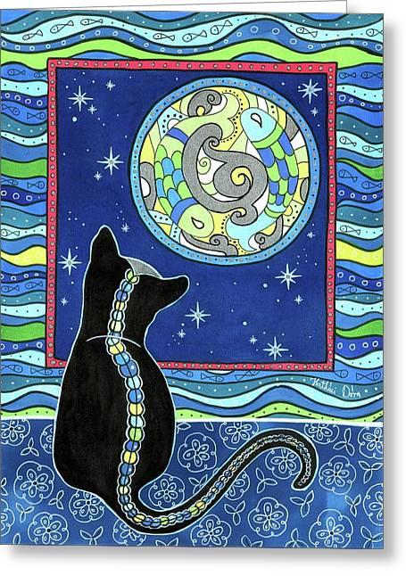 Pisces Cat Zodiac - Full Moon Greeting Card