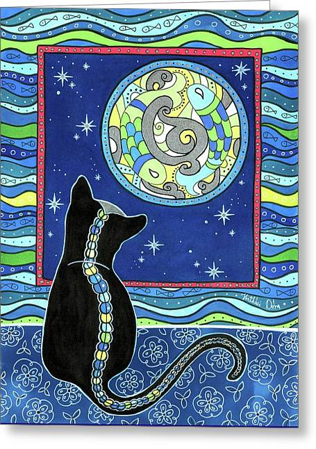 Pisces Cat Zodiac - Full Moon Greeting Card
