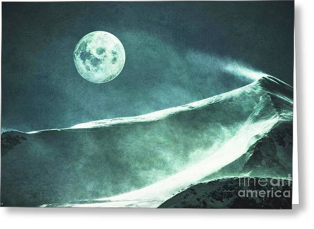 Full Moon Flurry Greeting Card by KaFra Art