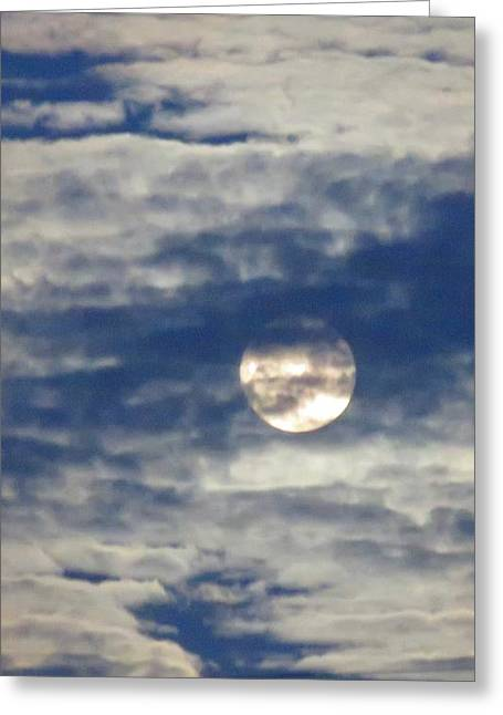 Full Moon In Gemini With Clouds Greeting Card