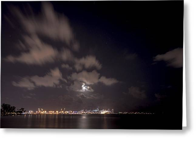 Full Moon In Miami Greeting Card