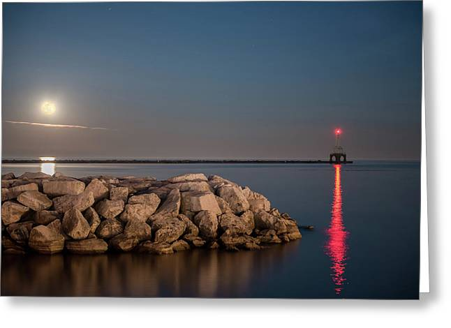 Full Moon In Port Greeting Card