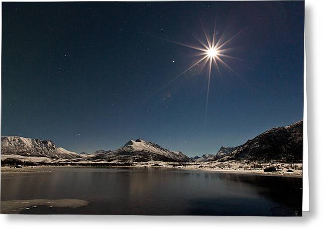 Sea Moon Full Moon Greeting Cards - Full moon in the arctic Greeting Card by Frank Olsen