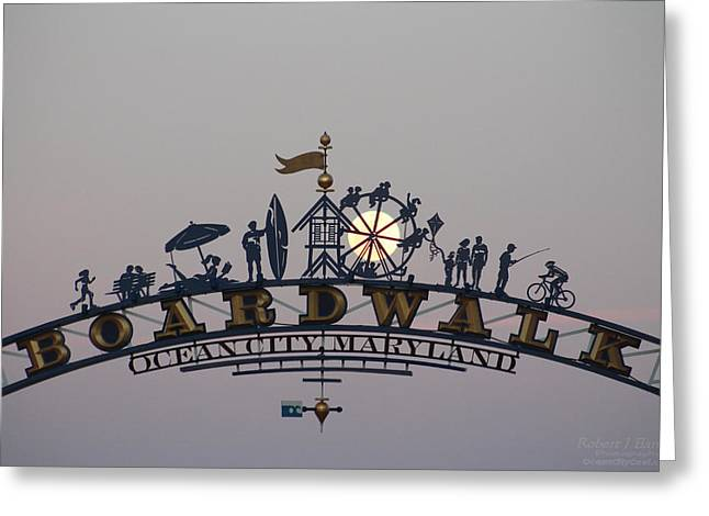 Full Moon In The Boardwalk Arch Ferris Wheel Greeting Card