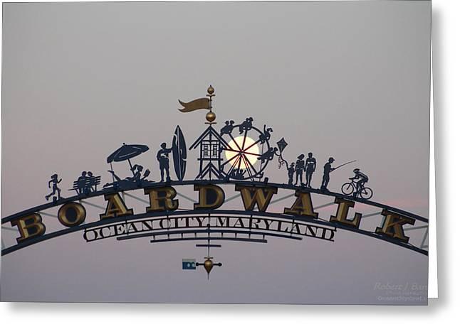 Full Moon In The Boardwalk Arch Ferris Wheel Greeting Card