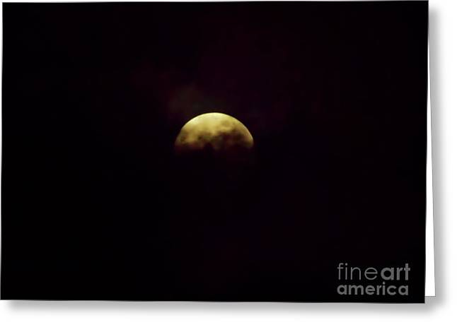 Full Moon In The Clouds Greeting Card by D Hackett