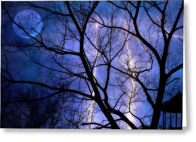 Full Moon Lighting Greeting Card by Randy Steele