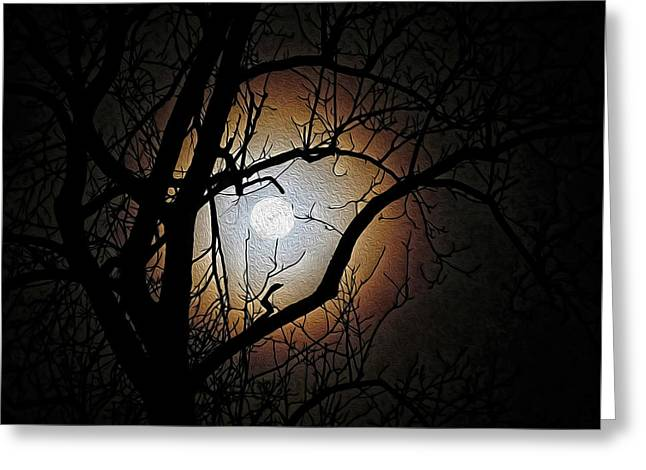 Full Moon Oil Painting Greeting Card