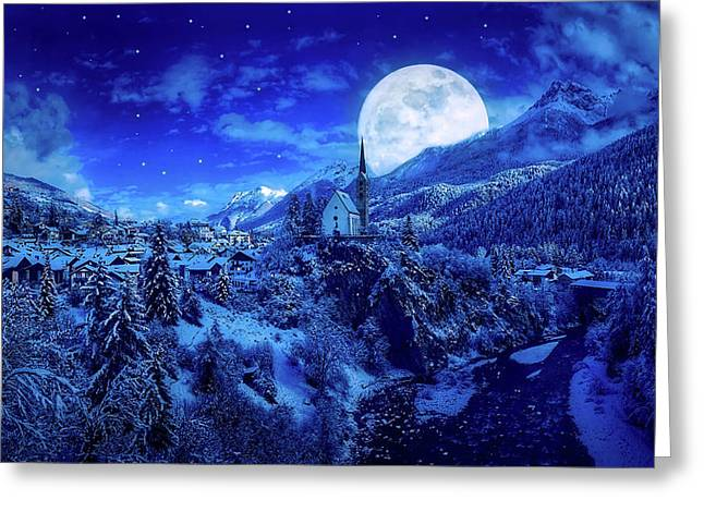 Full Moon Over A Winter Wonderland Greeting Card