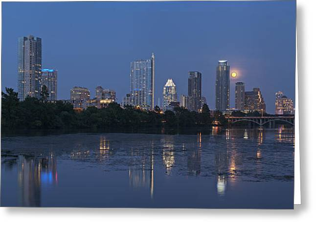 Full Moon Over Austin Greeting Card