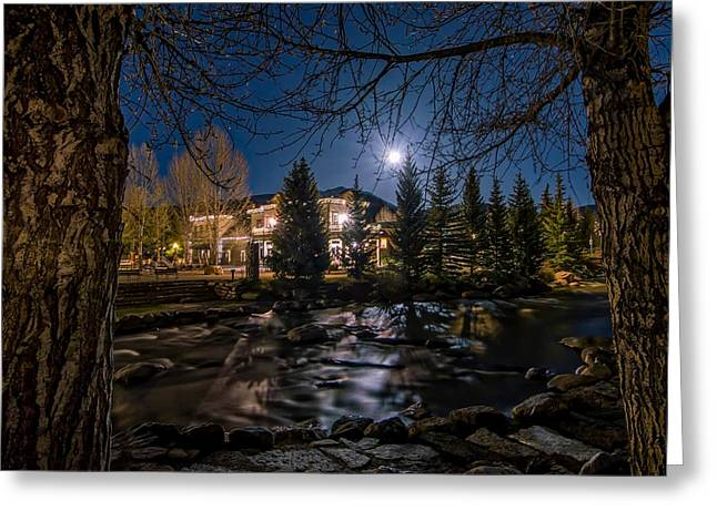 Full Moon Over Breckenridge Greeting Card